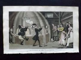 Rowlandson Doctor Syntax 1820 Hand Col Print. Syntax in the Glass House. Glassblowing